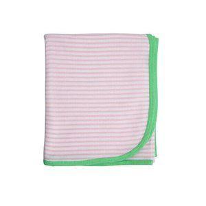 Huckleberry Lane Baby Cotton Wrap 100cm x 100cm White Pink Stripe Blanket
